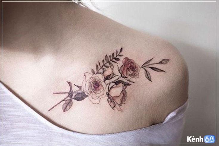 Hình xăm hoa hồng trắng