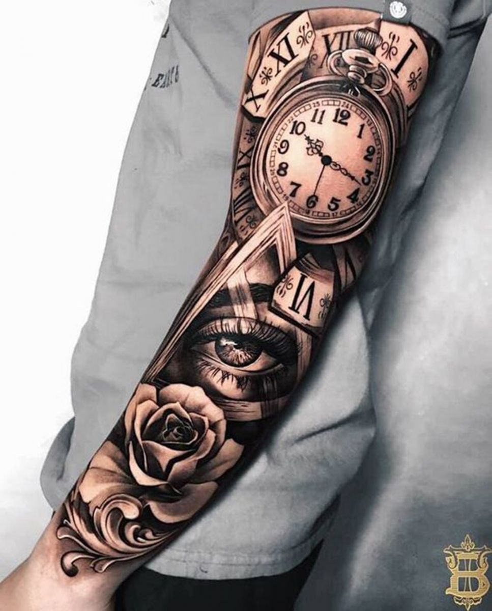 Lựa chọn Rose Tattoo full cánh tay cho nam giới