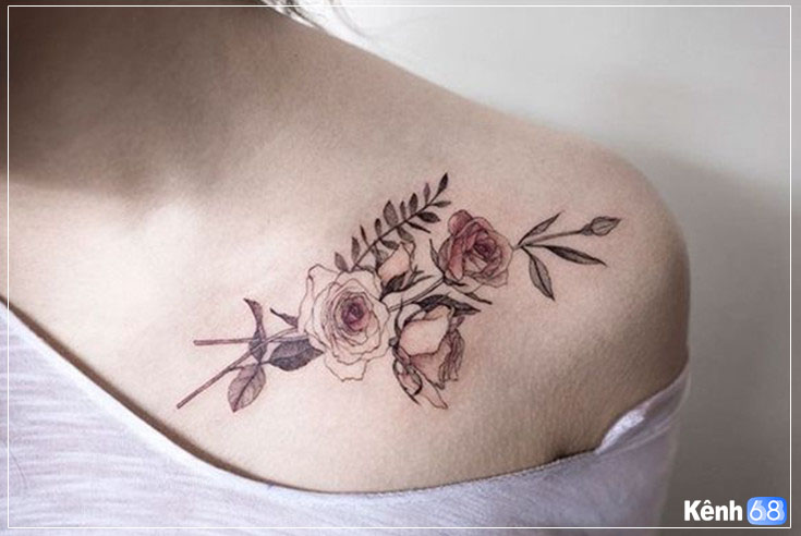 Thiết kế hình xăm hoa hồng trên vai nữ giới!