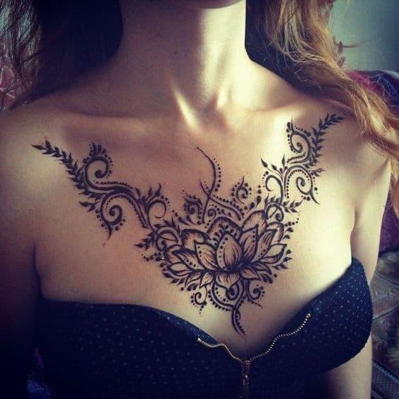 Thiết kế hình xăm hoa sen chữ phạn - hình xăm bông sen cách tân cho nữ